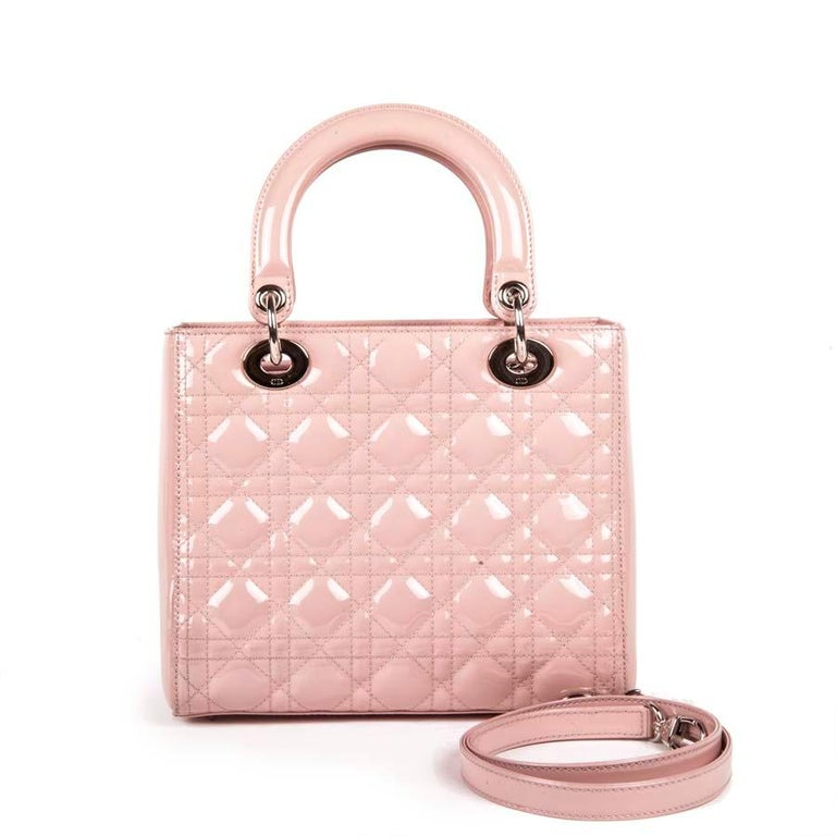 Beige DIOR Lady Dior Bag in Pink Varnished Quilted Leather For Sale