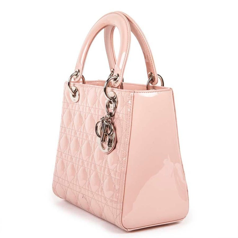 Women's DIOR Lady Dior Bag in Pink Varnished Quilted Leather For Sale