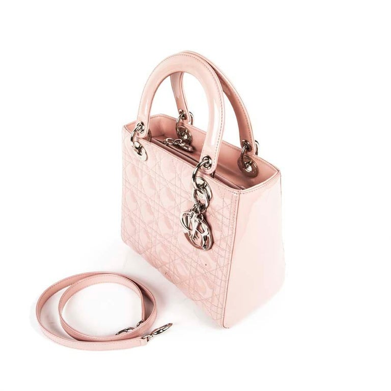 DIOR Lady Dior Bag in Pink Varnished Quilted Leather For Sale 2