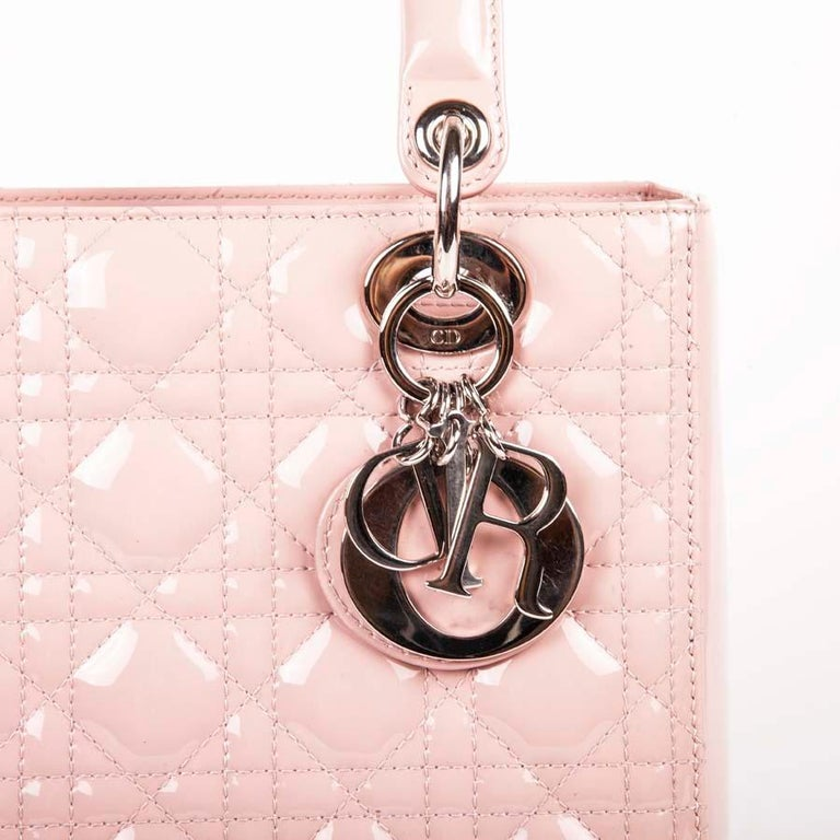 DIOR Lady Dior Bag in Pink Varnished Quilted Leather For Sale 3