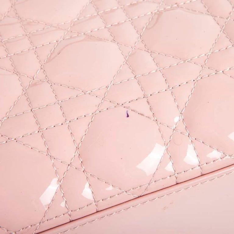 DIOR Lady Dior Bag in Pink Varnished Quilted Leather For Sale 4