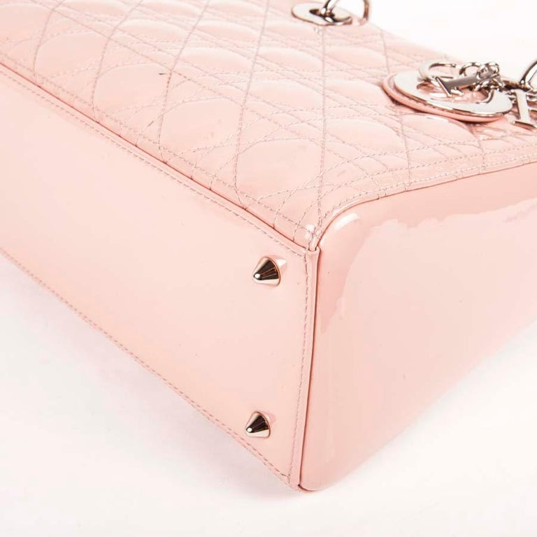 DIOR Lady Dior Bag in Pink Varnished Quilted Leather For Sale 6