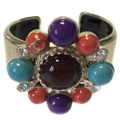 CHANEL Rigid Bracelet in Hammered Gilt Metal, Multicolored Resin and Rhinestones