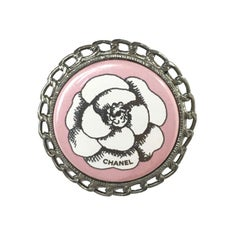 CHANEL Pink Camellia Round Brooch in Ruthénium Metal