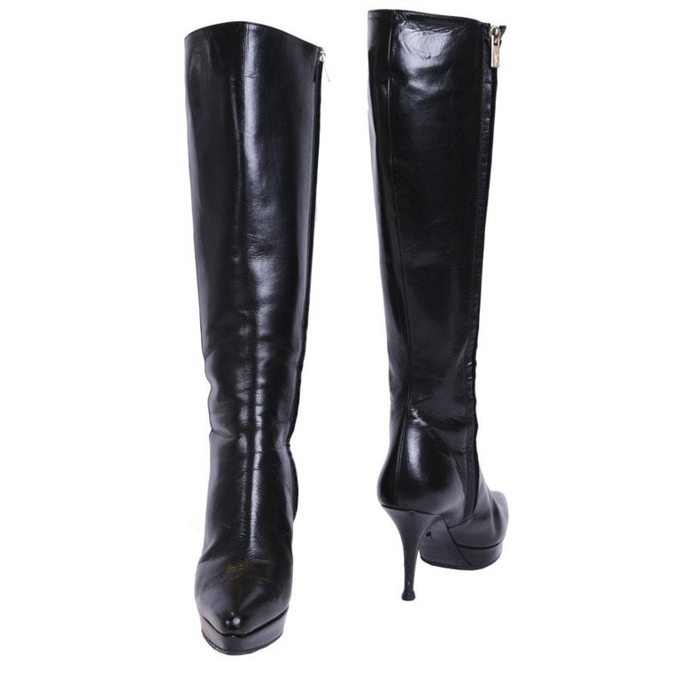 aa2481671ab YVES SAINT LAURENT High Heels Boots in Shiny Black Leather Size 37.5 FR For  Sale