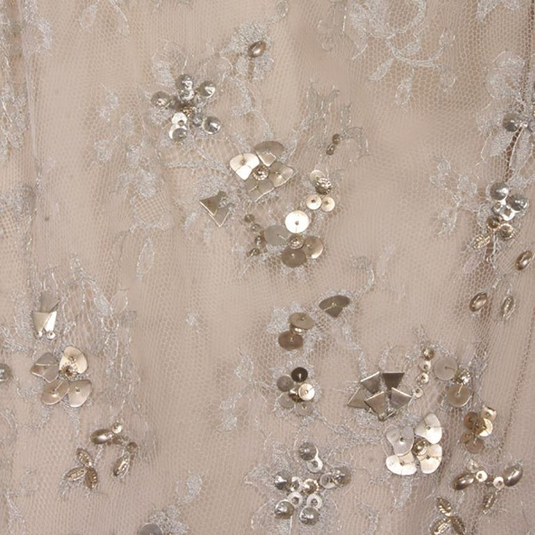 VALENTINO Sleeveless Cocktail Dress in Silver Lace Embroidered with Sequins 36FR For Sale 2