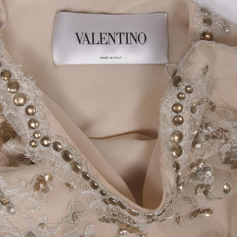 VALENTINO Sleeveless Cocktail Dress in Silver Lace Embroidered with Sequins 36FR For Sale 1