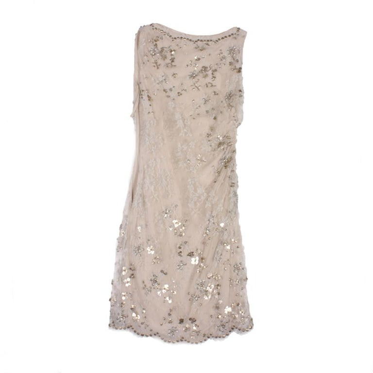 VALENTINO Sleeveless Cocktail Dress in Silver Lace Embroidered with Sequins 36FR For Sale