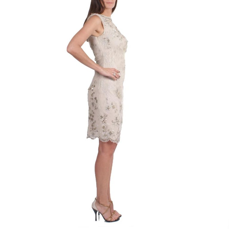 Beige VALENTINO Sleeveless Cocktail Dress in Silver Lace Embroidered with Sequins 36FR For Sale