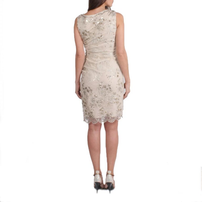 Women's VALENTINO Sleeveless Cocktail Dress in Silver Lace Embroidered with Sequins 36FR For Sale