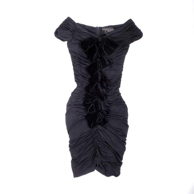 GIAMBATTISTA VALLI Black Stretch Silk Evening Gown Size 42 IT For Sale