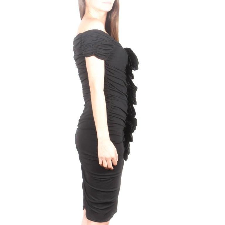 GIAMBATTISTA VALLI Black Stretch Silk Evening Gown Size 42 IT In Excellent Condition For Sale In Paris, FR