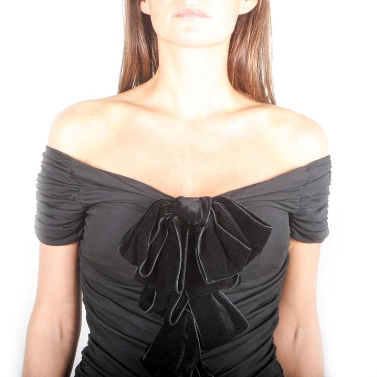 GIAMBATTISTA VALLI Black Stretch Silk Evening Gown Size 42 IT For Sale 1