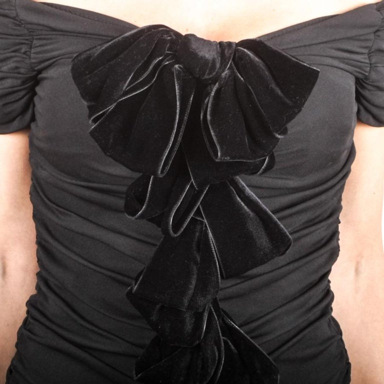 GIAMBATTISTA VALLI Black Stretch Silk Evening Gown Size 42 IT For Sale 2