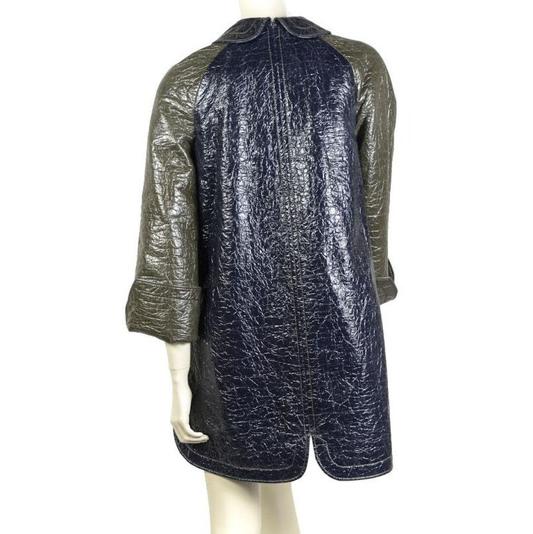 Black BALENICAGA Raincoat in Navy Blue and Khaki Green Waxed Cotton Size 40 For Sale