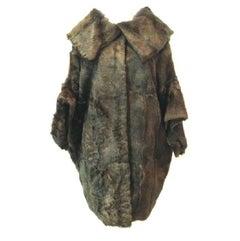 MURIZIO PECORARO Oversized Dark Green Coat in Real Fur from Cretan Wild Goat