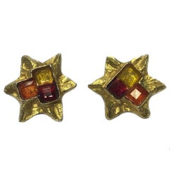 CHRISTIAN LACROIX Stars Clip-on Earrings in Gilt Matte Metal