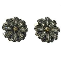 LANVIN Flower Shape Clip-on Earrings  in Silver Metal, Rhinestones