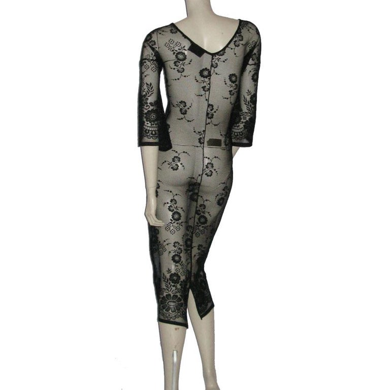 DOLCE & GABBANA Under Dress in Transparent Black Lace effect Size 38 In Excellent Condition For Sale In Paris, FR