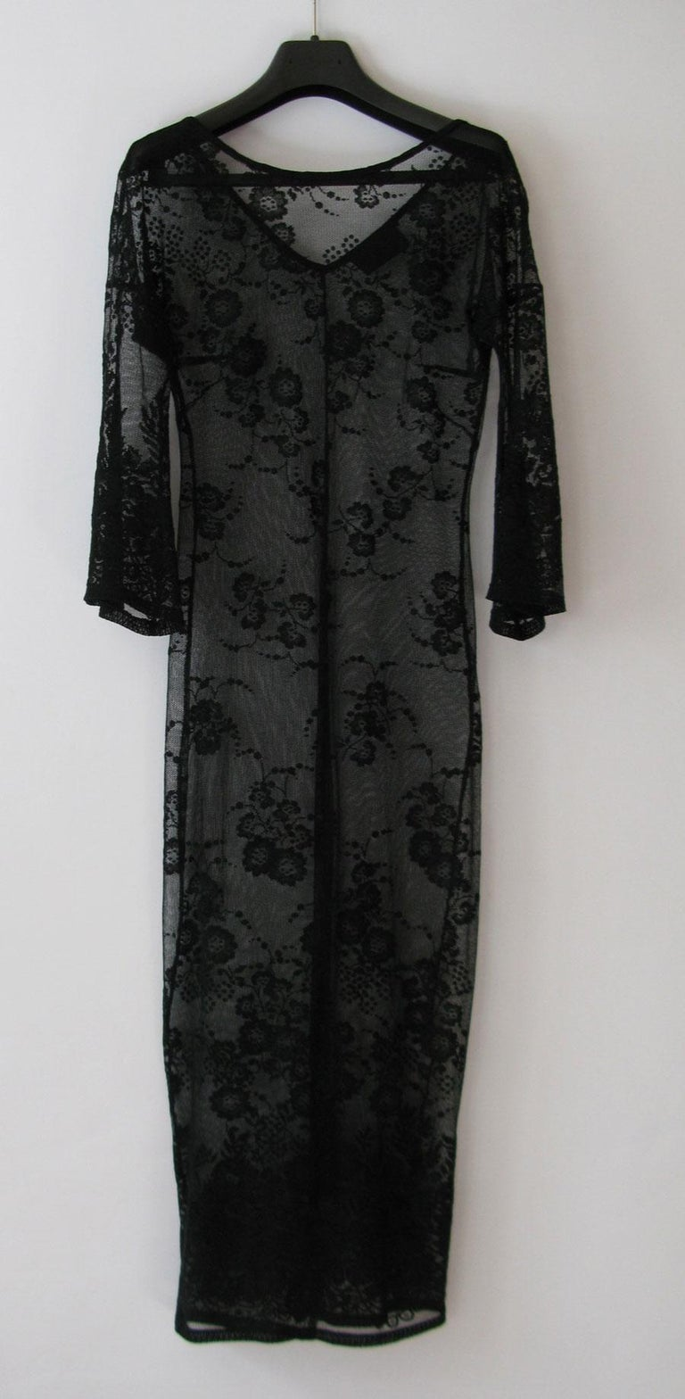 Women's DOLCE & GABBANA Under Dress in Transparent Black Lace effect Size 38 For Sale