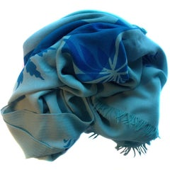 HERMES Shawl in Light Blue Cashmere and Herringbone Wool