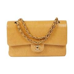 CHANEL Logo Double Flap Bag in Beige Leather