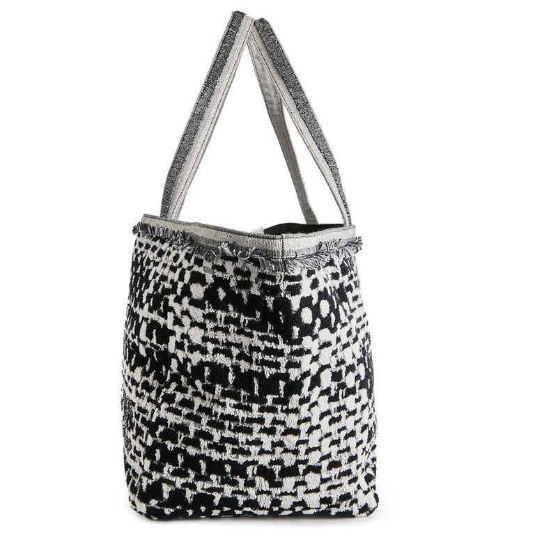 de87dedcd852 CHANEL Beach Bag in Black and Gray Terry Cloth with a Tweed Effect In New  Condition