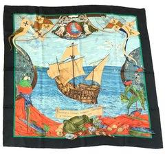 HERMES Scarf 'Christophe Colomb découvre l'Amérique 12 octobre 1492' in Silk