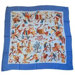 HERMES 'Din Tini Ya Zue' Scarf in Blue Silk