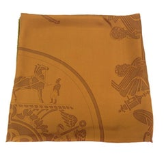HERMES Large Shawl in Brown Silk