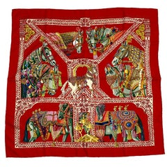 HERMES Scarf 'La danse du cheval Marwari' in Multicolored Silk
