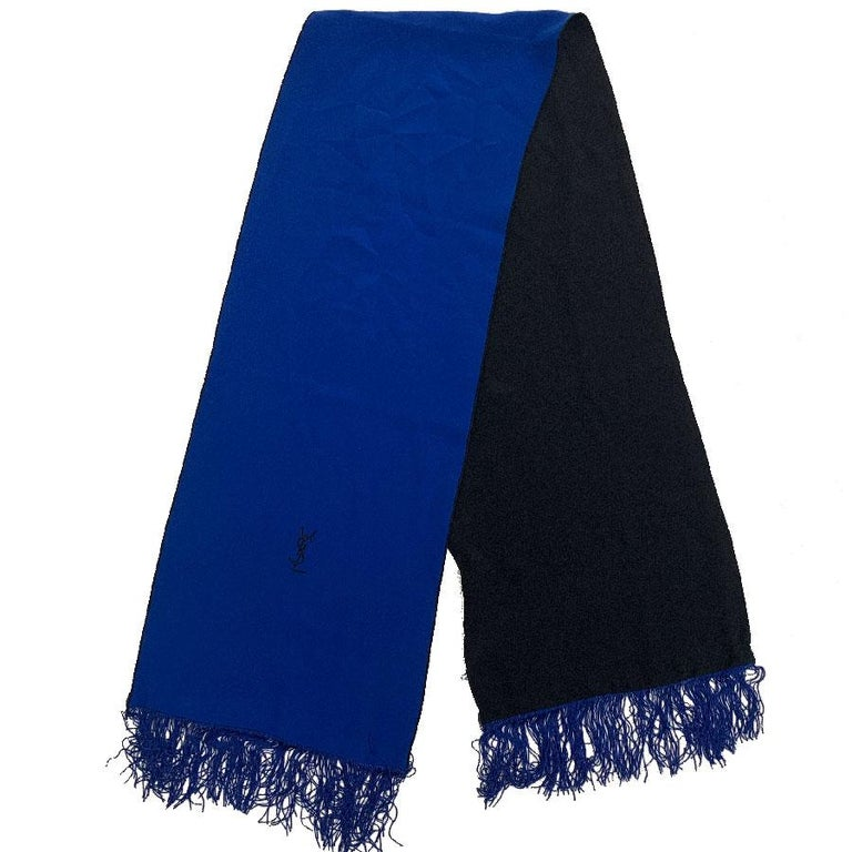 3db65c963d5 YVES SAINT LAURENT Vintage Scarf in Black and Electric Blue Silk For Sale