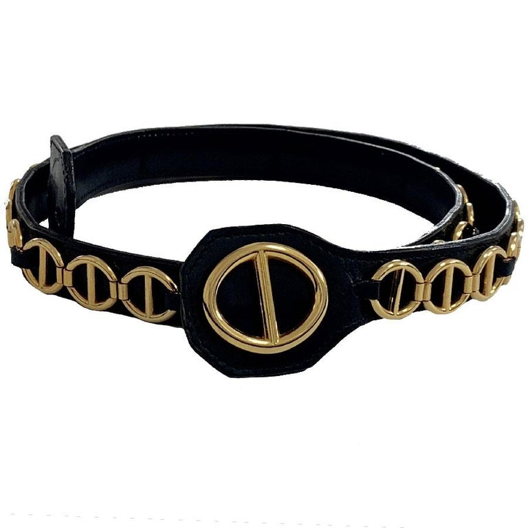 CHRISTIAN DIOR Vintage Belt in Black Calfskin and Gilt Metal Chain Size 80/32 In Good Condition For Sale In Paris, FR