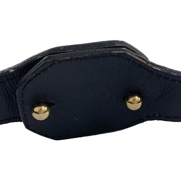 CHRISTIAN DIOR Vintage Belt in Black Calfskin and Gilt Metal Chain Size 80/32 For Sale 3