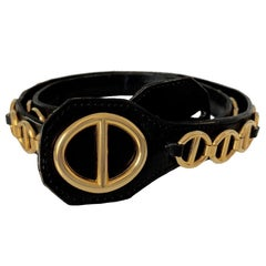 CHRISTIAN DIOR Vintage Belt in Black Calfskin and Gilt Metal Chain Size 80/32