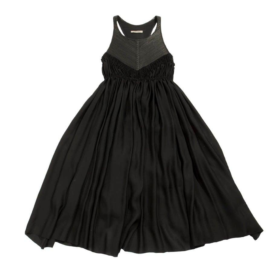 BOTTEGA VENETA Cocktail Dress in Black Silk and Leather Size 42IT