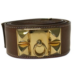 HERMES Collier de Chien Belt in Gold Courchevel Leather Size 78