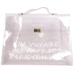 Collector HERMES Vintage Kelly Bag 'Au Pays des Merveilles' in Transparent Vinyl