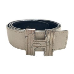 HERMES Reversible Belt in Off-White and Black Color Size 75