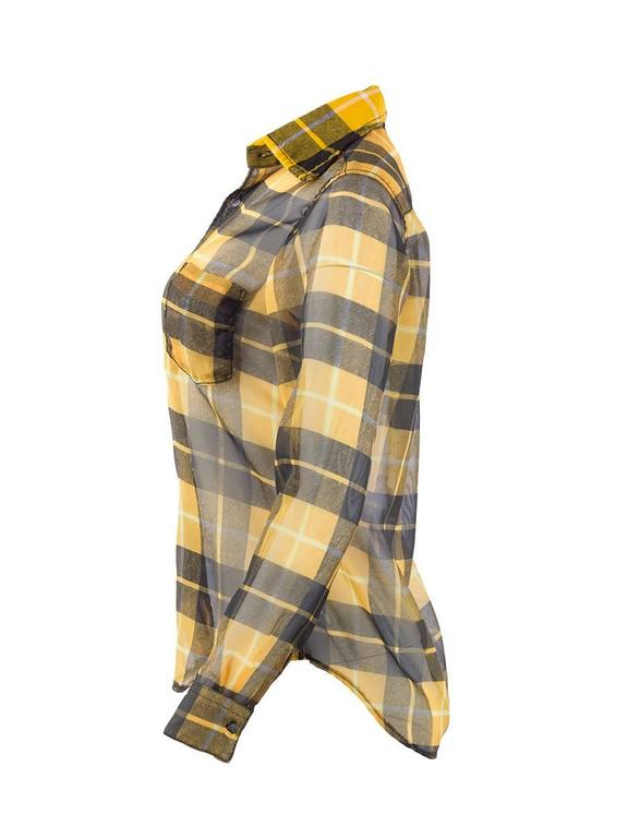 Vintage Comme des Gaçons yellow and black sheer silk plaid button-up shirt with one front breast pocket.