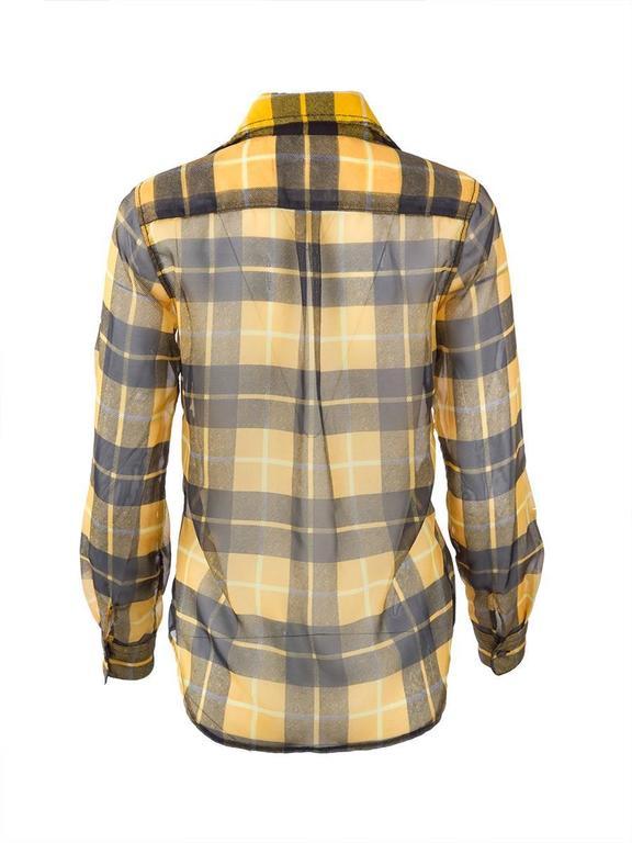 Brown Comme des Gaçons Sheer Plaid Shirt For Sale