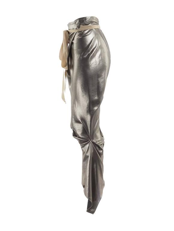 Thimister Couture Draped Metallic Silver Wrap Harem Pants In New Condition For Sale In Laguna Beach, CA