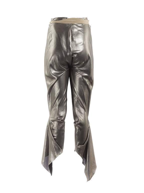 Women's Thimister Couture Draped Metallic Silver Wrap Harem Pants For Sale