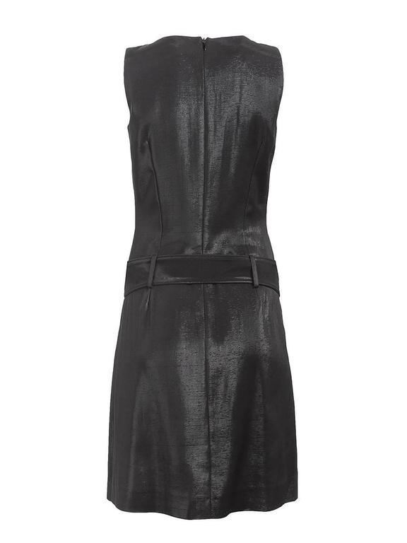 1980's Paco Rabanne Black Silk Belted Mini Dress In New Condition For Sale In Laguna Beach, CA