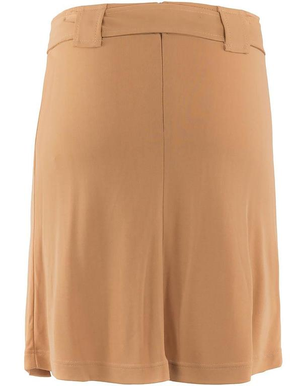 1980's Paco Rabanne Beige Stretch Belted Skirt In New Condition For Sale In Laguna Beach, CA