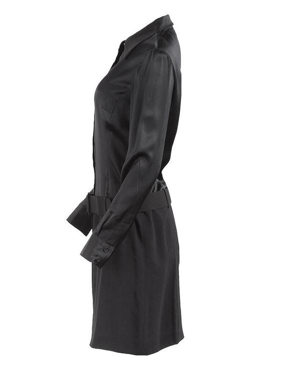 1980's New with Tag black silk button up shirt dress with a wool crepe skirt and wide attached belt from PACO RABANNE.