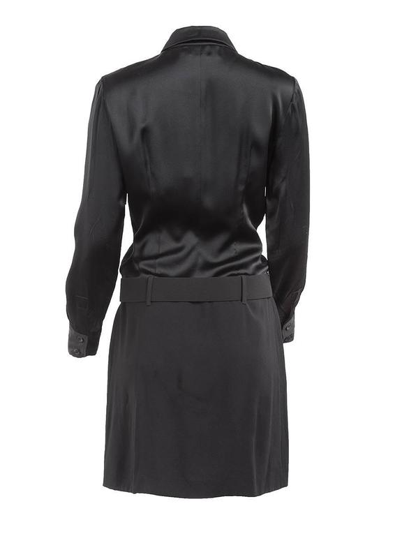 1980's Paco Rabanne Black Silk Shirt Dress In New never worn Condition For Sale In Laguna Beach, CA