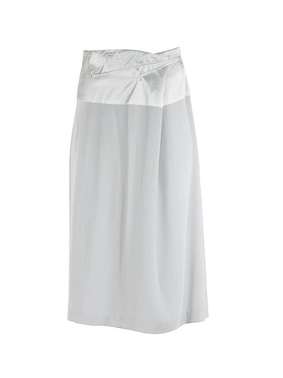 20th Century Maison Martin Margiela Blank Label white silky mid length skirt with a wide satin waistband and self tying drawstring belt. New with Tags.