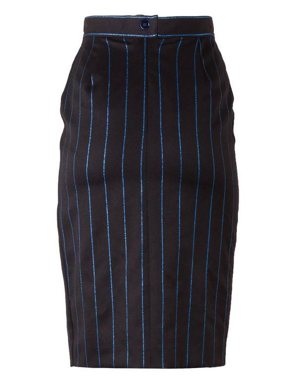5eeda0359a9c4 Chantal Thomass 1980's NWT Black Pinstripe Pencil Skirt In New Condition  For Sale In Laguna Beach