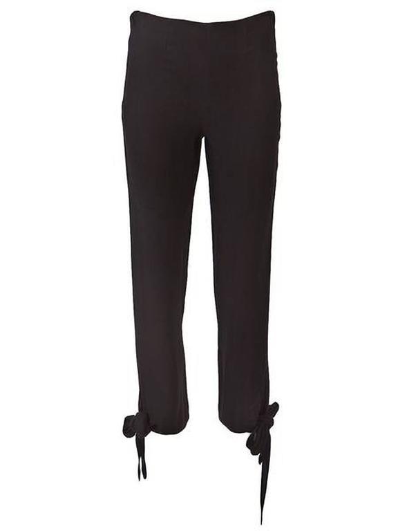 Women's 1990's Jean Paul Gaultier Black Woven Ankle Tie Pants For Sale